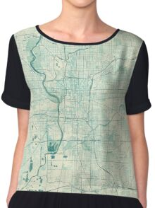 Indianapolis Map Blue Vintage Chiffon Top