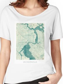 Jacksonville Map Blue Vintage Women's Relaxed Fit T-Shirt