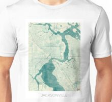 Jacksonville Map Blue Vintage Unisex T-Shirt