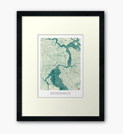 Jacksonville Map Blue Vintage Framed Print