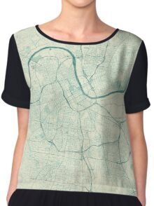 Nashville Map Blue Vintage Chiffon Top