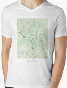 Columbus Map Blue Vintage Mens V-Neck T-Shirt