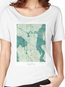 Seattle Map Blue Vintage Women's Relaxed Fit T-Shirt