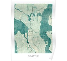 Seattle Map Blue Vintage Poster