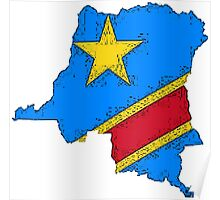 Democratic Republic of the Congo Zaire Map With Flag Poster