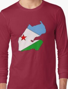 Djibouti Map With Flag of Djibouti Long Sleeve T-Shirt