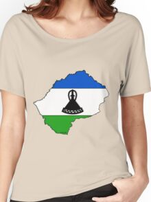 Lesotho Map With Flag of Lesotho Women's Relaxed Fit T-Shirt