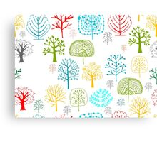 Seamless pattern with trees Canvas Print