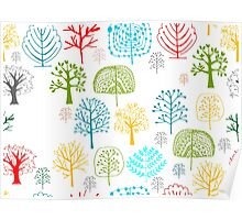 Seamless pattern with trees Poster