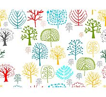 Seamless pattern with trees Photographic Print