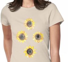 Cheerful Watercolor Sunflowers Womens Fitted T-Shirt