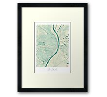 St. Louis Map Blue Vintage Framed Print