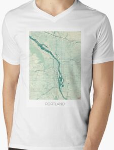 Portland Map Blue Vintage Mens V-Neck T-Shirt