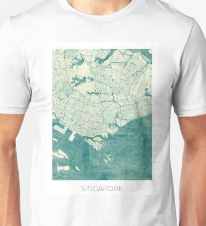 Singapore Map Blue Vintage Unisex T-Shirt