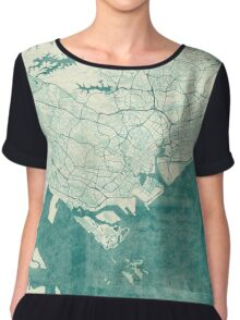Singapore Map Blue Vintage Chiffon Top