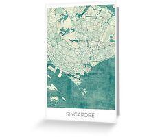 Singapore Map Blue Vintage Greeting Card