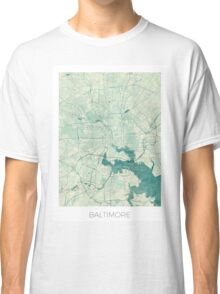 Baltimore Map Blue Vintage Classic T-Shirt