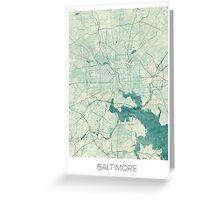 Baltimore Map Blue Vintage Greeting Card