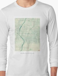 Albuquerque Map Blue Vintage Long Sleeve T-Shirt