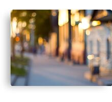 Out of focus image of streets and buildings Canvas Print