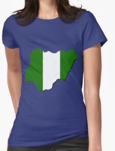 Nigeria Map With Nigerian Flag Womens Fitted T-Shirt