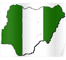 Nigeria Map With Nigerian Flag Poster