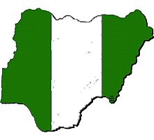 Nigeria Map With Nigerian Flag Photographic Print