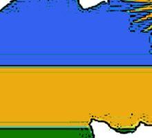 Rwanda Map With Rwandan Flag Sticker