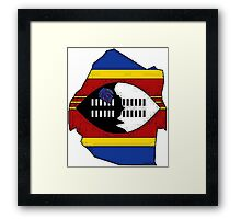 Swaziland Map With Flag Framed Print