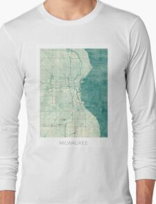 Milwaukee Map Blue Vintage Long Sleeve T-Shirt