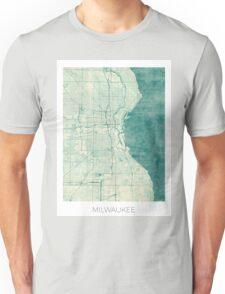Milwaukee Map Blue Vintage Unisex T-Shirt