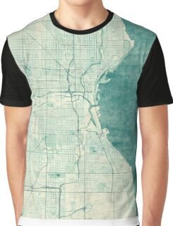 Milwaukee Map Blue Vintage Graphic T-Shirt