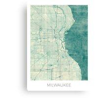 Milwaukee Map Blue Vintage Canvas Print