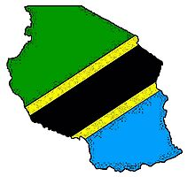 Tanzania Map With Tanzanian Flag Photographic Print