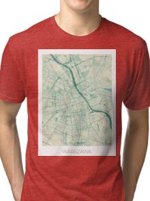 Warsaw Map Blue Vintage Tri-blend T-Shirt