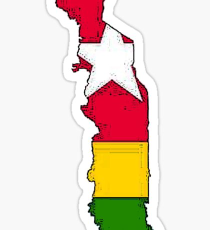 Togo Map With Flag Sticker