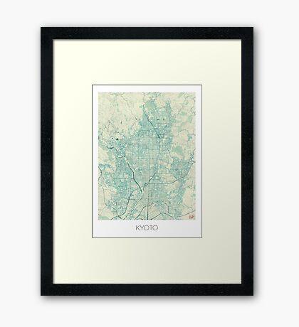 Kyoto Map Blue Vintage Framed Print