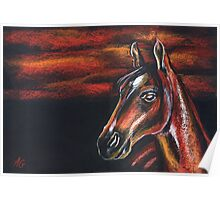Red horse_Pastel painting_My favorite animals Poster