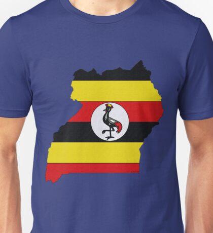Uganda Map With Ugandan Flag Unisex T-Shirt