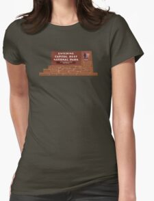 """""""Entering Capitol Reef National Park"""" Sign, Utah, USA Womens Fitted T-Shirt"""