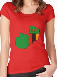 Zambia Map With Zambian Flag Women's Fitted Scoop T-Shirt