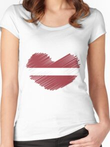 Love Latvia Scribble Flag Heart Women's Fitted Scoop T-Shirt