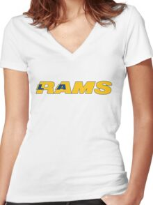 LOS ANGELES RAMS FOOTBALL RETRO Women's Fitted V-Neck T-Shirt
