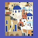Santorini Pillow and Tote Bag by Shulie1