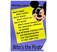 Mickey Mouse lies about copyright Poster