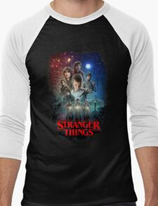 Stranger Things Black Men's Baseball ¾ T-Shirt