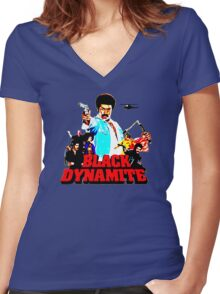 Black Dynamite Women's Fitted V-Neck T-Shirt