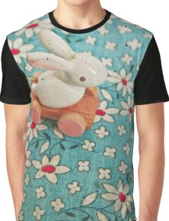 Bunny on Blue Graphic T-Shirt