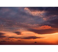 Sunset sky with orange clouds. Photographic Print