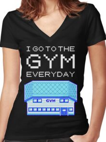 I go to the gym everyday - pokemon Women's Fitted V-Neck T-Shirt